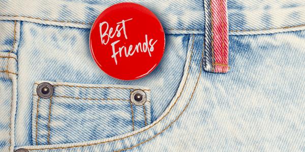 Amy's Blend Pin Best Friend Pin on denim