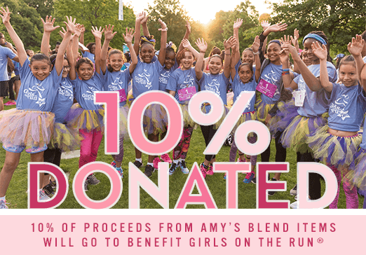 Amy's Blend Girls on the Run donation banner