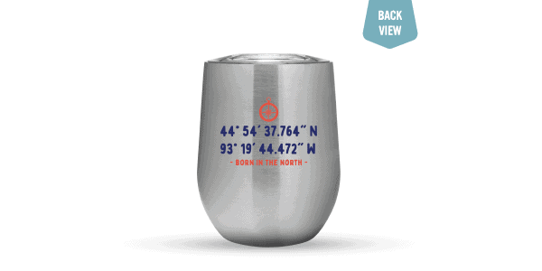 Lat/Long Tumbler 12oz Silver Back View