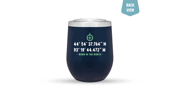 Lat/Long tumbler 12oz Blue Back view