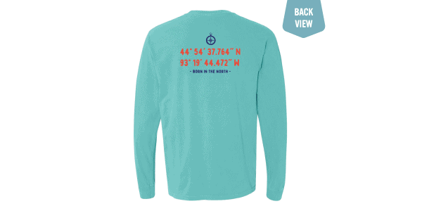 Lat/long tee teal back view