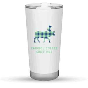 Lat/long tumbler 20oz white front view