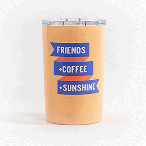 Friends plus coffee plus sunshine tumbler orange front view