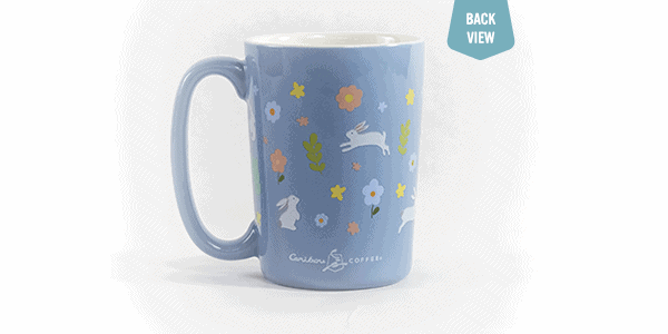 bunny ceramic mug back view