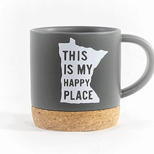 This is my happy place ceramic mug cork bottom gray front view
