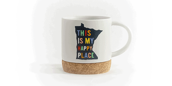 This is my happy place ceramic mug cork bottom white front view
