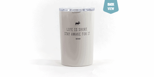 Life is short tumbler white back view