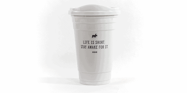 Life is Short Stay Awake for it strawless mug white