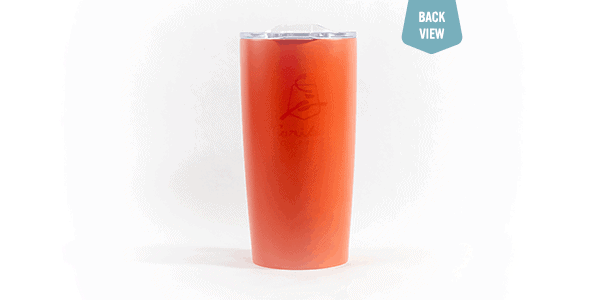Caribou Classic stainless steel tumbler 20 oz Orange back view