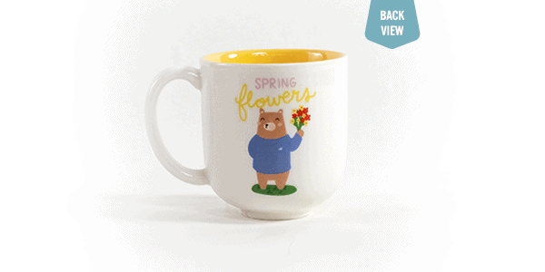 Spring flowers ceramic mug back view