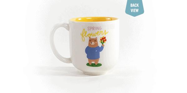 Spring flowers ceramic mug - white, back view