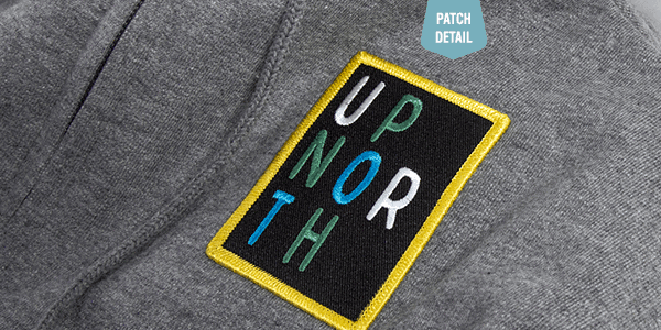 Up North sweatshirt patch detail view