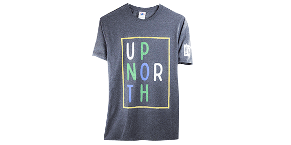 Up north tee shirt front view