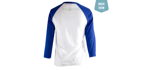Tree Hugger teeshirt, blue and white, back