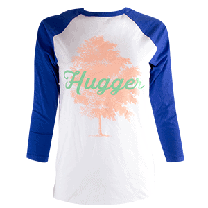 tree hugger tee, blue and white