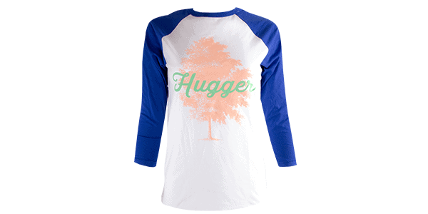 Tree Hugger tee, blue and white, front view