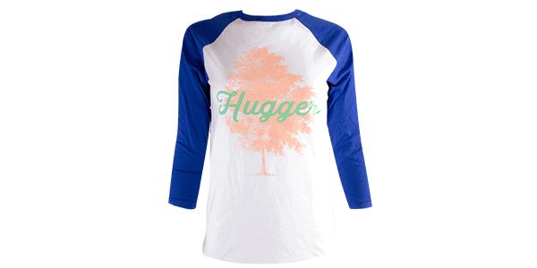 tree hugger tee, blue and white