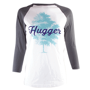 tree hugger tee, gray and white