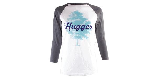 tree hugger tee, gray and white