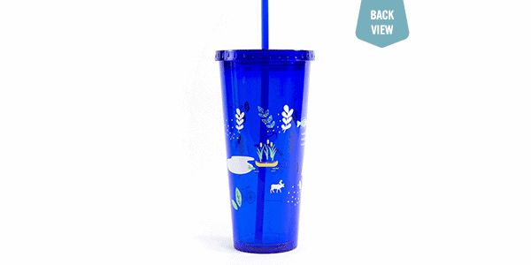 Love Our Earth tumbler, blue, back