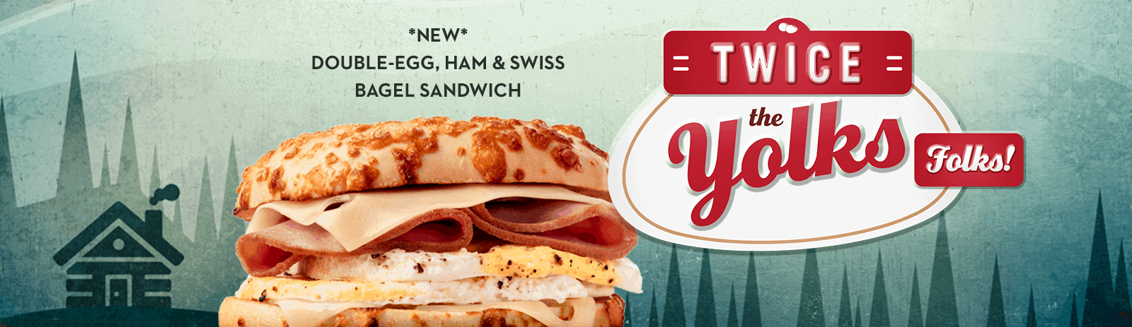 New double-egg, ham and swiss bagel sandwich
