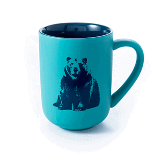bear teal ceramic front