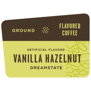 Label for Vanilla Hazelnut Flavored Coffee