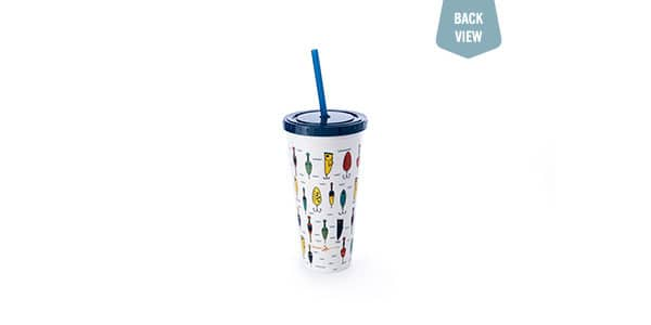 White cold-drink tumbler with many cartoon lures printed on it