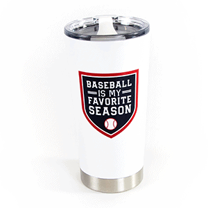 baseball tumbler - white