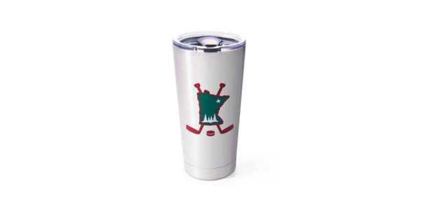 Stainless steel tumbler with green state of Minnesota and red hockey sticks