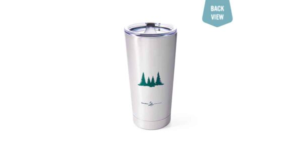Stainless steel tumbler with green evergreen trees and Caribou logo