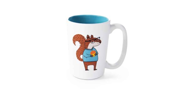 White ceramic mug with blue interior, and a cartoon picture of squirrel wearing shirt & glasses