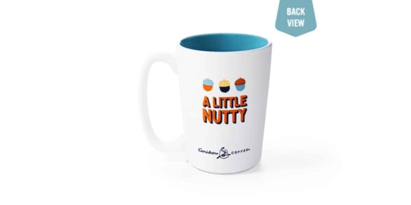 "White ceramic mug with text ""A little nutty"""