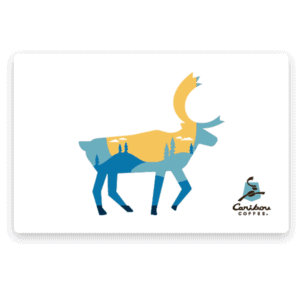 White giftcard with caribou (overlayed with outdoor nature image)