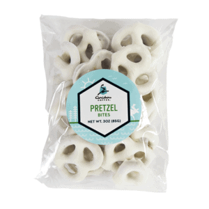 Bag of white chocolate pretzel bites