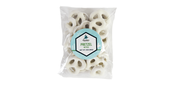Bag of white chocolate pretzel bites