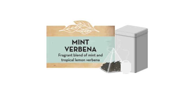 """Mint Verbena"" text next to close-up of tea bag"