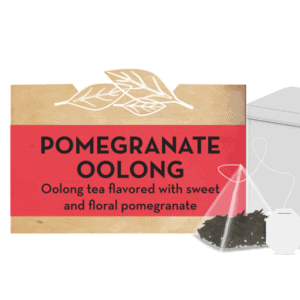 """Pomegranate Oolong"" text next to close-up of tea bag & tea tin"