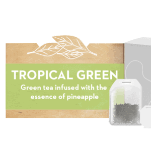 """Tropical Green"" text next to close-up of tea bag & tea box"