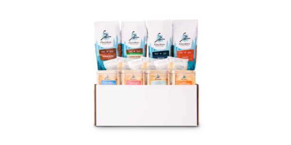 Office essentials gift set, with 4 bags of coffee & 4 tea tins