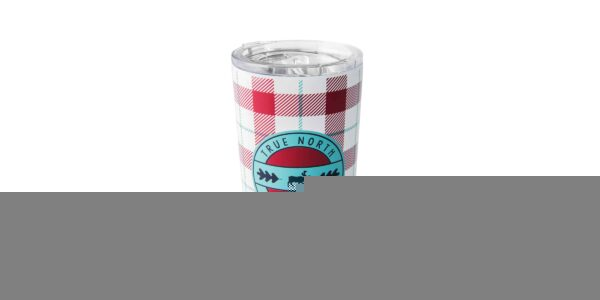 """Red & white plaid stainless steel tumbler, with """"True North. Fall Essential"""" text on front."""