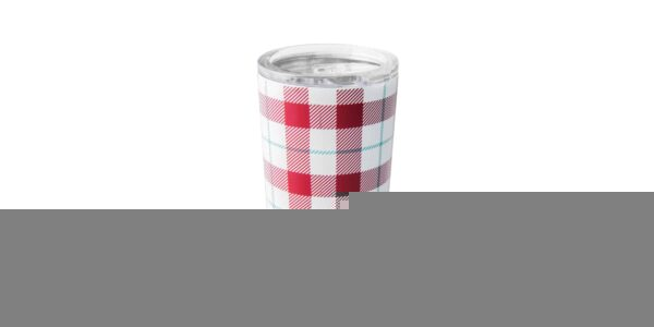 Red & white plaid stainless steel tumbler