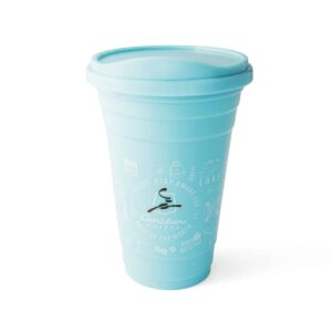 Teal and green tumbler featuring Caribou logo