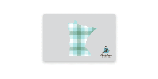 Plaid picture of Minnesota on a gray gift card