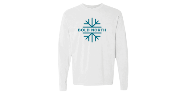"White long sleeve shirt with blue ""Bold North"" text over a line-art snowflake"