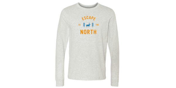 "Off-white long sleeve shirt with ""Escape to the North"" text in orange"