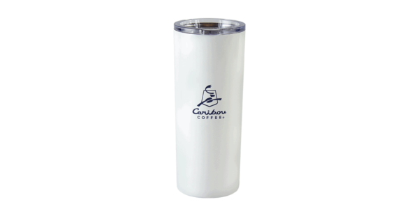 Tall off-white stainless steel tumbler showing Caribou logo