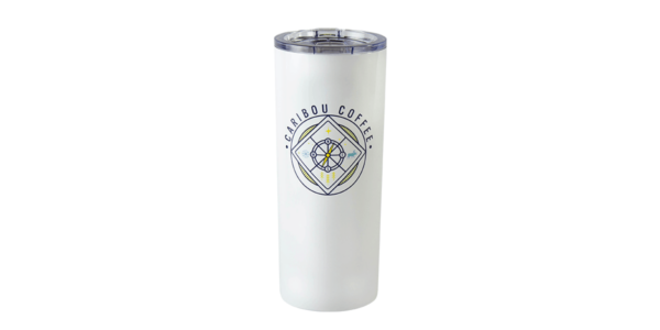 Tall off-white stainless steel tumbler showing Caribou Coffee text surrounding a compass