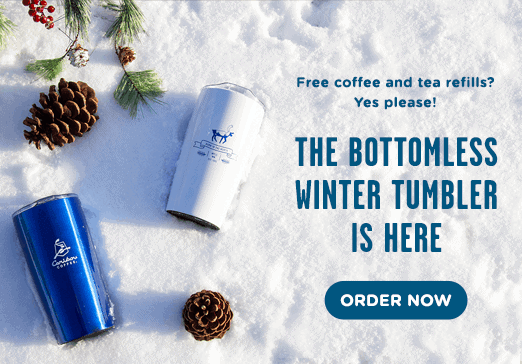 Free coffee and tea refills? Yes please! The bottomless winter tumbler is here.