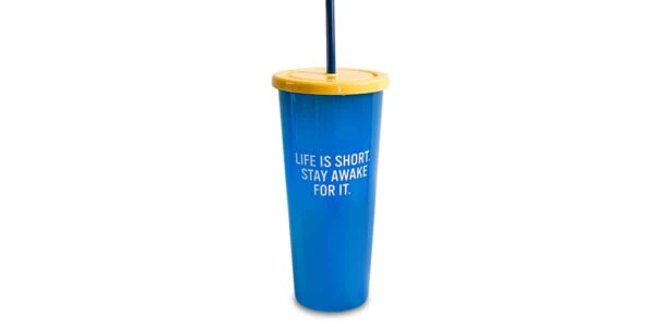 Color Changing Tumbler - Blue with white tagline and yellow lid - front